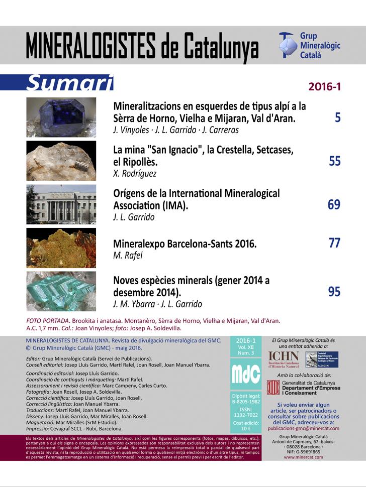 <em>Mineralogistes</em> (2016-1) - Sumari i crèdits